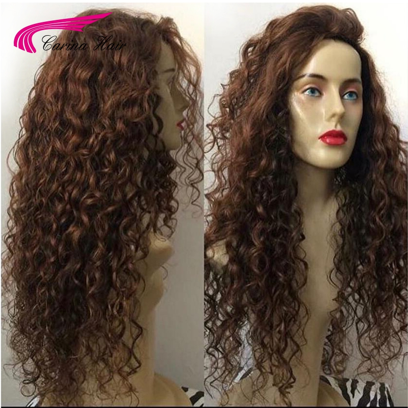 Carina Color 4# Lace Front Wigs with Baby Hair Brazilian Kinky Curly Human Hair Wigs Pre-Plucked Hairline Remy Hair 150% Density
