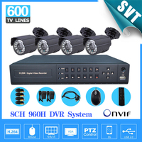 8 Channel Cctv Security Camera With DVR Recorder System 4pcs 600TVL Camera Video Kit 8ch 960h