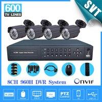 8 канальный видеонаблюдения безопасности Камера с DVR Регистраторы Системы 4 шт. 600TVL Камера видео комплект 8ch видеорегистратор NVR 960 h наблюден