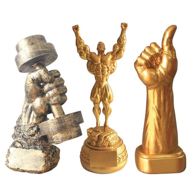 Logo Fitness Muscle hommes décoration musculation sport compétition trophée Champion Statue Sculpture salle de sport décorations Statue