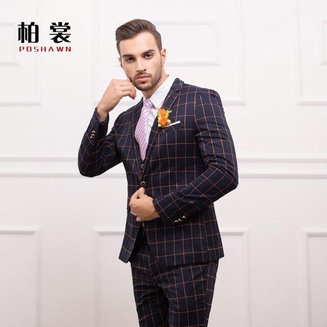 3da738c0 Moda juego ocasional delgado vintage plaid vestido formal casado azul novio traje  para hombre trajes de
