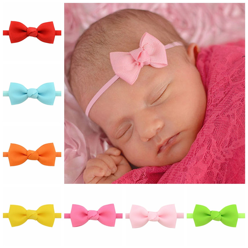 Newborn Kids Small Mini Grosgrain Ribbon Bow Tie Headband Girls DIY Elastic Thin Head Bands Hairbands Baby Hair Accessories