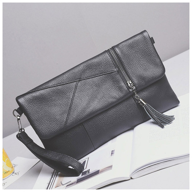 49808563eed 2017 Fashion Tassel Genuine cow Leather Fold Over bag for Women casual  Clutches lady Female zipper Black Crossbody bags Handbags