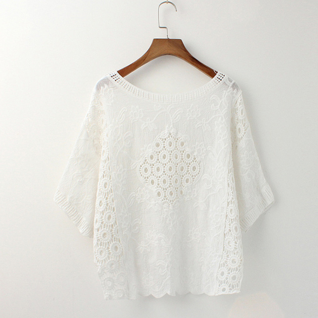 0a2cb6da2c8 Women Blouse Crochet Lace Tops Batwing Sleeve Round Neck Loose Oversized  Hollow Out Cotton Shirts Vintage Beho White Blouses