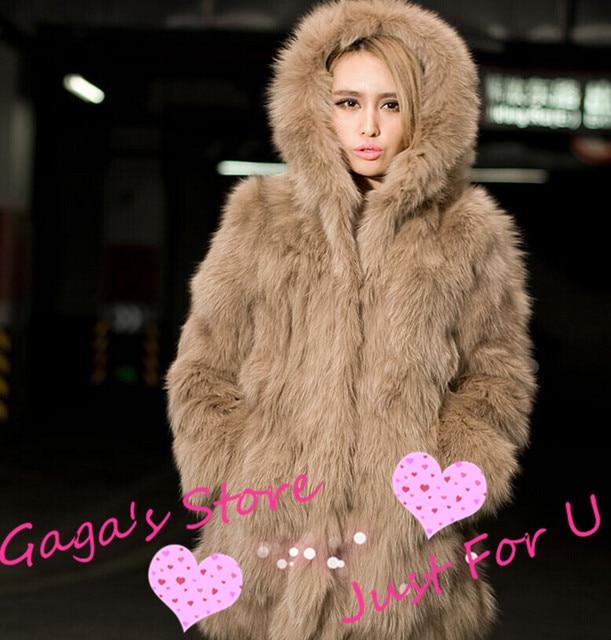 eb39b31f98fd5 Gaga s Store-Lady s Hooded Faux Fox Fur Coat Plus Size S-XXL Women s New  Fashion Winter Jacket Brand Fur Coats free shipping