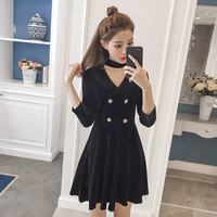 black dress v neck velvet women high end vintage dresses buttons pleated vestidos design fashion outfit clothing girl S XXL