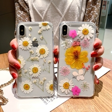 Real Dried Flowers Phone Case For iPhone X XR XS Max Handmade Natural Transparent TPU Cover 6 6S 7 8 Plus Hot
