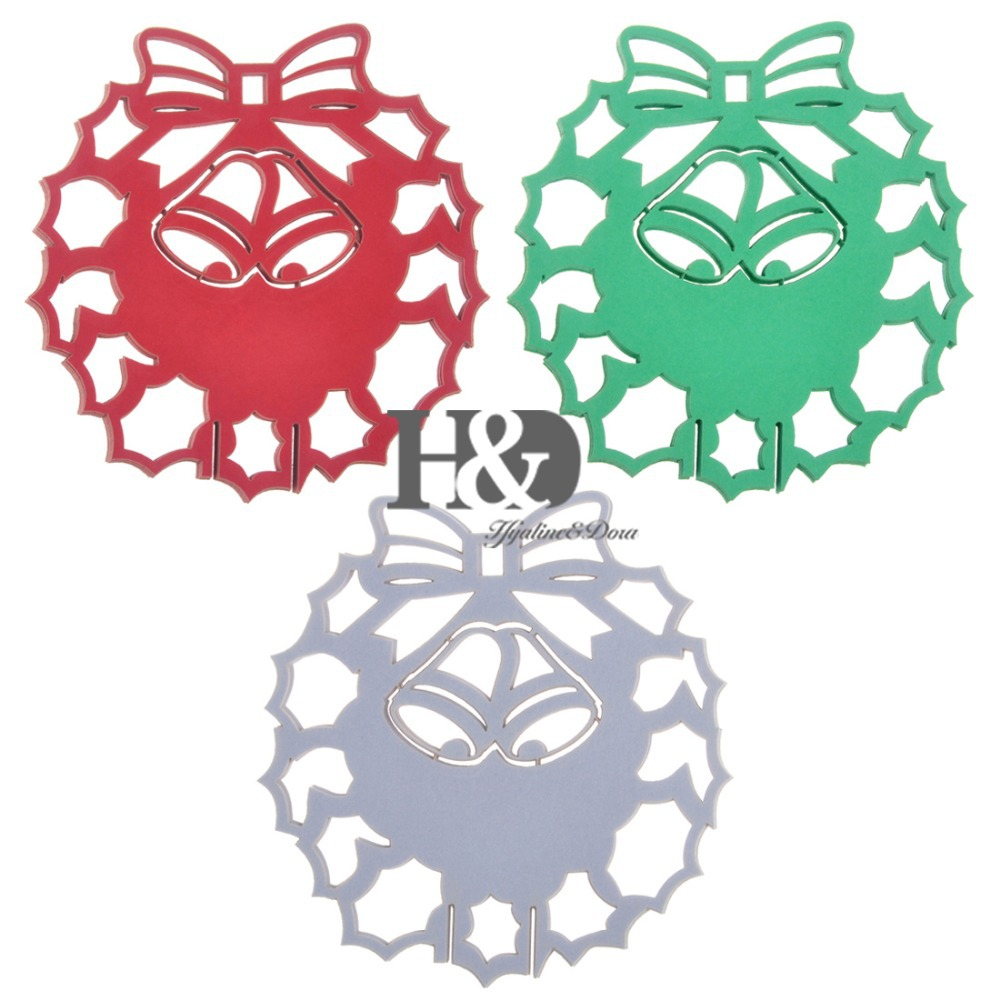 ٩(^‿^)۶12PC/lot Laser Cut Christmas Garland Paper Wine Glass Goblet ...