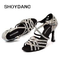 SHOYDANC Women Salsa Party Ballroom Shoes Latin dance shoes Big Small Rhinestone Shining Sandals Lattice Glitter Cuba heel 9cm