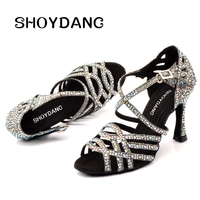 SHOYDANC Women Salsa Party Ballroom Shoes Latin dance shoes Big Small Rhinestone Shining Sandals Lattice Glitter Cuba heel 9cm