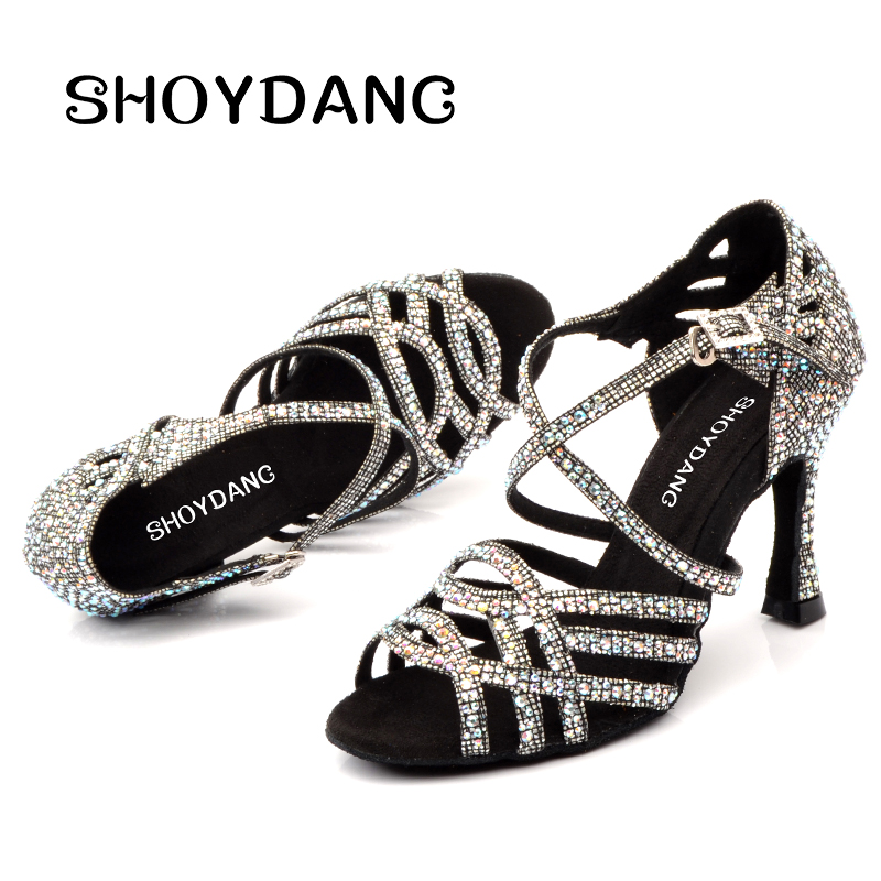 SHOYDANC Women Salsa Party Ballroom Shoes Latin dance shoes Big Small Rhinestone Shining Sandals Lattice Glitter Cuba heel 9cm image