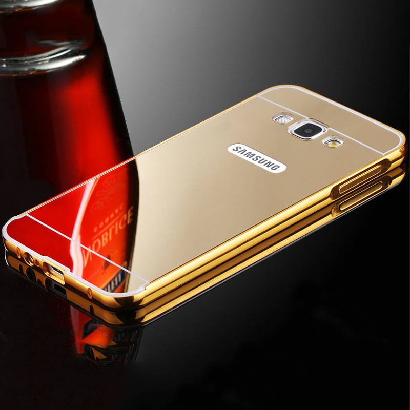 Fundas for Samsung Galaxy J3 J5 J7 2016 Case Mirror Metal Bumper + Acrylic PC Back Cover ...