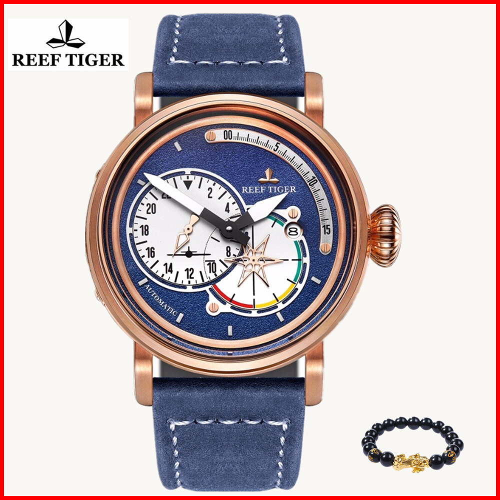2019 Reef Tiger/RT Military Watch Men Waterproof Genuine Leather Strap Blue Dial Automatic Pilot Watches Clock Relogio Masculino2019 Reef Tiger/RT Military Watch Men Waterproof Genuine Leather Strap Blue Dial Automatic Pilot Watches Clock Relogio Masculino