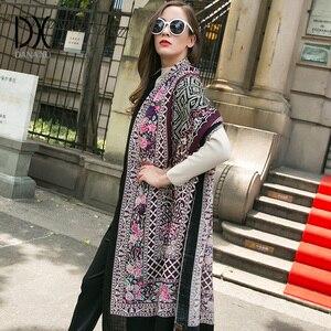 Image 3 - Moda szaliki i szale duży szalik luksusowej marki wełny Wrap muzułmański hidżab Poncho szalik z pledu indie chustka osłona twarzy