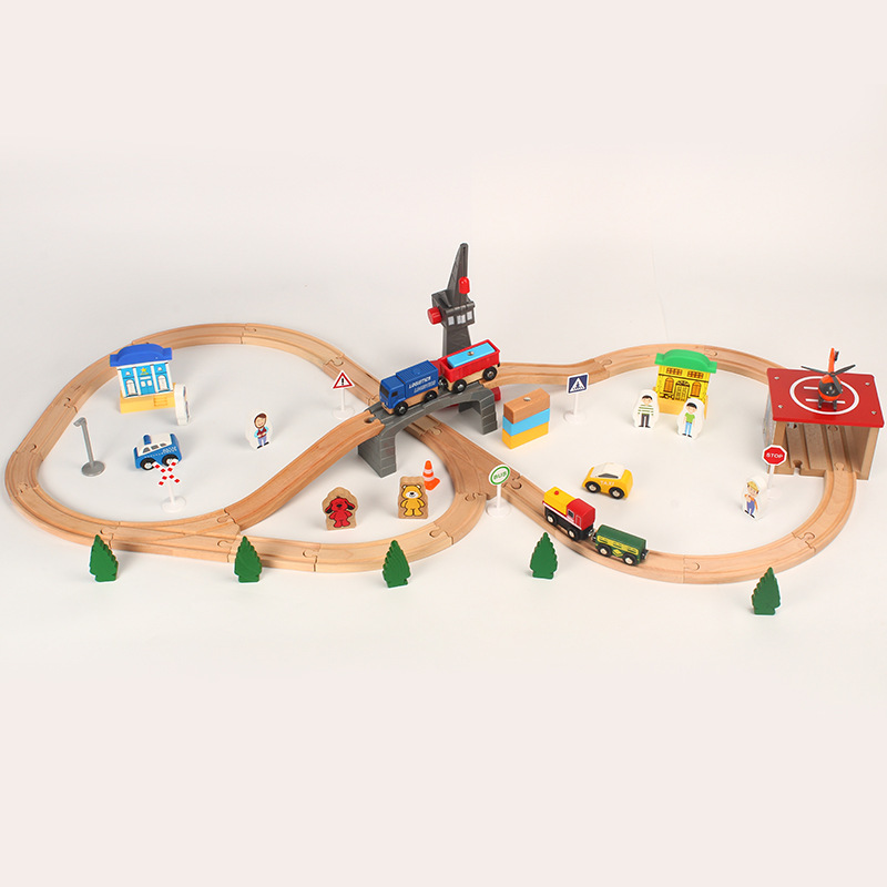 Kids Magnetic Wooden Train Track Set Wood Railway Puzzle Slot Race Track Compatible With Various Wooden