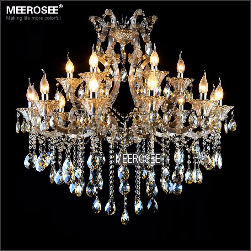 Maria Theresa Crystal Chandelier Light Fixture Cognac LED Crystal Lustre 18 Light Lamp for Lobby Stair Hallway project MD2225