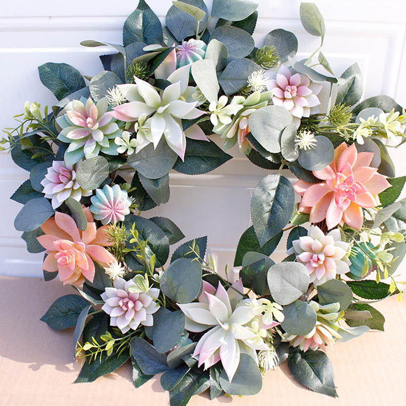 Artificial Wreath Door Trim Ornament Hanging Succulent Fake Flower Garland for Home Garden Christmas Wedding Decoration Floral
