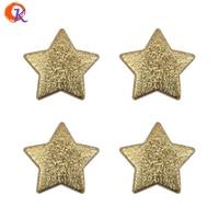 Hartelijke Ontwerp 100 stks/partij 24mm Shiny Gold Gerimpelde Glanzend Kleur Chunky Kralen Acryl Star Kralen Met Straight Gaten