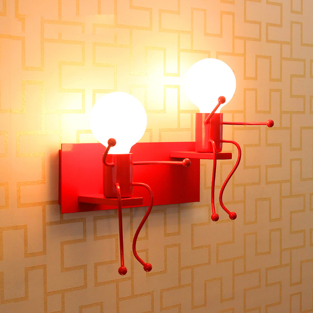 Modern Cartoon Doll Wall Light Led Creative Mounted Iron Sconce Lighting Lamp For Kids Baby Room Living Bedroom Decoration