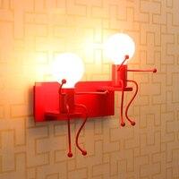 Phim Hoạt Hình hiện đại Tường Búp Bê Ánh Sáng LED Sáng Tạo Gắn Sắt Đồn Nhỏ Chiếu Sáng Đèn cho Kids Bé Phòng Trí Phòng Ngủ Phòng Khách