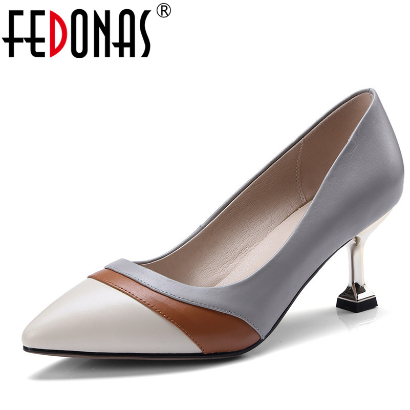 FEDONAS Women Natural Genuine Leather High Heel Sexy Pointed Toe Wedding Party Shoes Woman Stilettos Heels Patachwork Pumps ldhzxc women mary janes pumps sexy pointed toe gladiator high heels shoes woman blue genuine leather stilettos shoes woman pumps