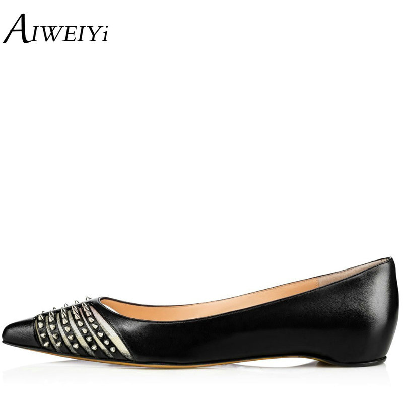 AIWEIYi Spring Summer Fashion Ballet Flats Pointed toe Studded Rivets Women's Flat Shoes Woman Ladies Casual Ballet Shoes drfargo spring summer ladies shoes ballet flats women flat shoes woman ballerinas pointed toe sapato womens waved edge loafer