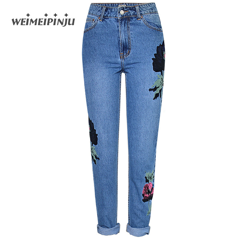 Woman High Waisted Jeans 2017 Autumn Fashion Cotton Denim Embroidery Pants Prairie Chic Floral Jeans Straight Big Sizes Mujer soft jeans for women 2017 autumn new fashion high waisted denim woman pants push up ripped holes pencil jeans mujer big sizes