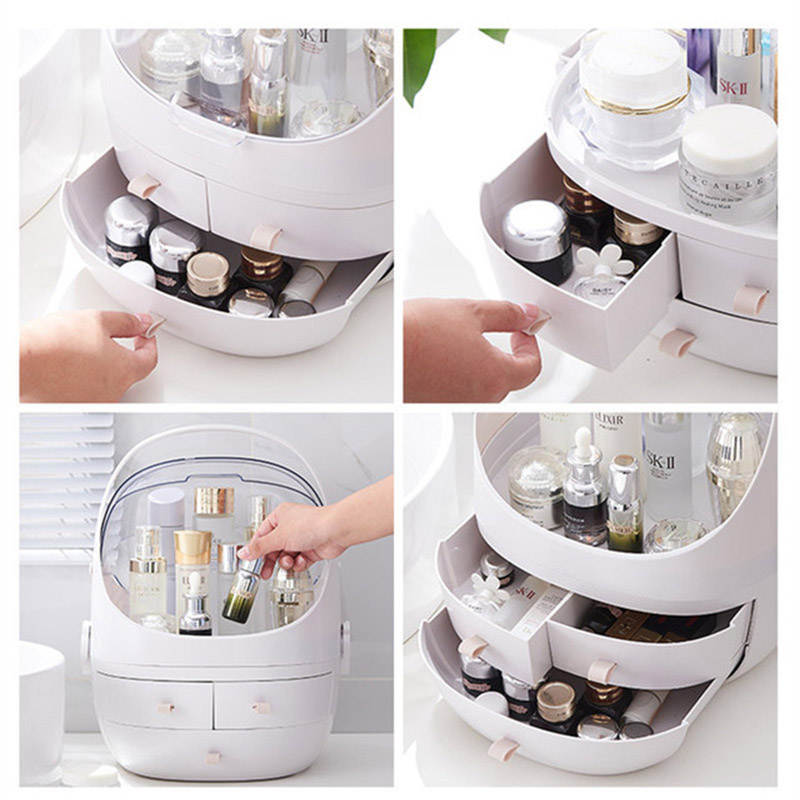 2019 Hot Sale Multi functional Plastic Makeup Box Jewelry Box Cosmetic Storage Organizers With Drawer Desk Sundries Organizers in Storage Boxes Bins from Home Garden
