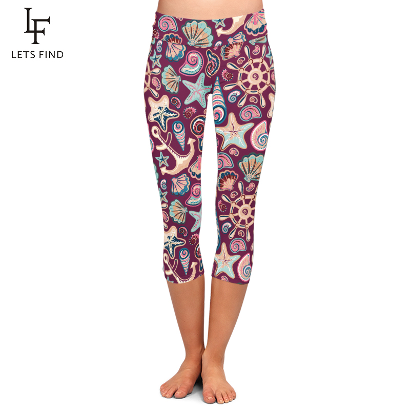Fashion High Waist Seamless Starfish Digital Printing Girl Capri Leggings High Quality Milk Silk Plus Size Casual Women Leggings