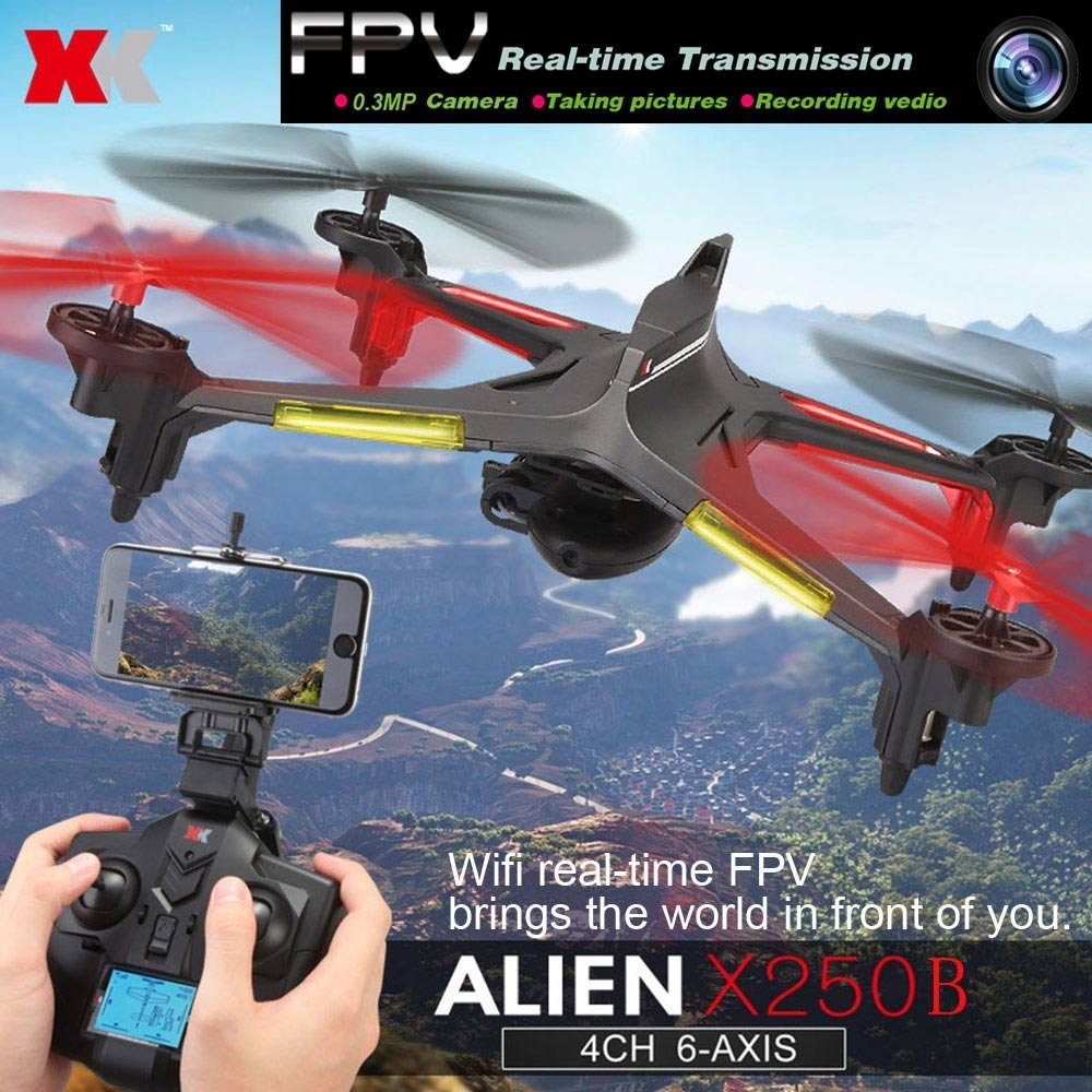 XK Alien X250B 2.4G 4CH 6-Axis Gyro 0.3MP Camera Wifi FPV RC