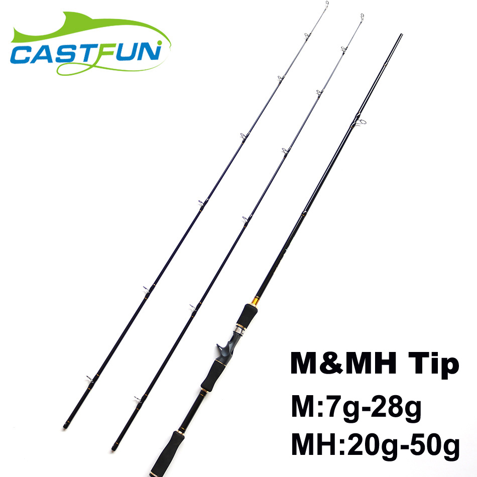 Free Shipping 2 Tips Baitcasting Rod 2.4m  8' M / MH High Carbon Bait Casting Winter Fishing Rod