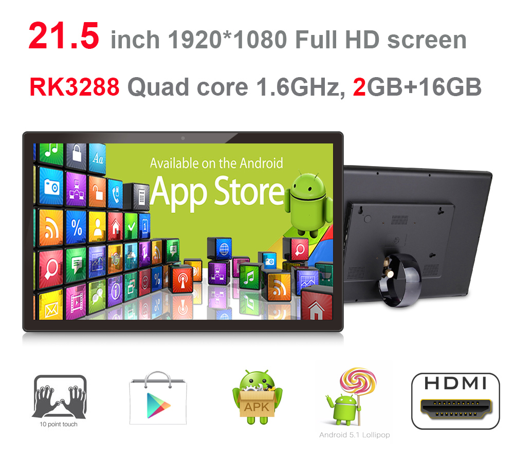 Updated-21.5 Inch Android KIOSK-Advertising Machine All In One Pc (Rochchip3288,2GB DDR3,16GB Nand Flash, Touch Screen,BT,VESA)