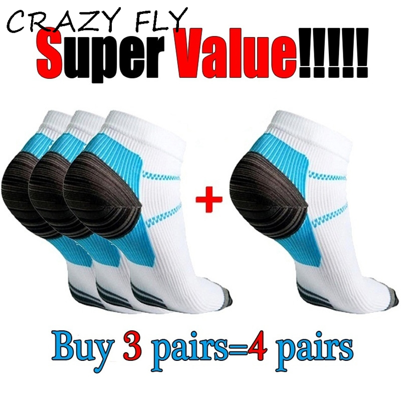 CRAZY FLY 1pair New Miracle Foot Compression Sock Anti-Fatigue Plantar Fasciitis Heel Spurs Pain Sock For Women hockey sock