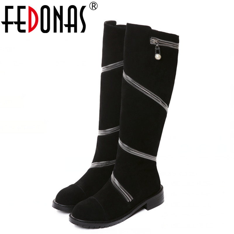 FEDONAS Top Quality Brand Women Autumn Winter Warm Knee High Genuine Leather Boots Thick High Heels Motorcycle Boots Shoes Woman