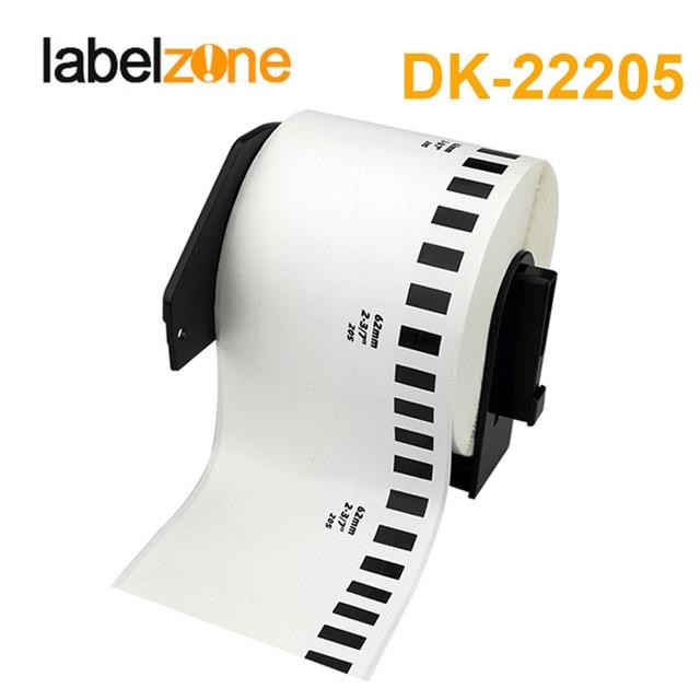 1 rollo de repuesto de papel térmico DK-22205 etiqueta 62mm * 30,48 m continuo Compatible para impresora de etiquetas Brother blanco papel de DK22205