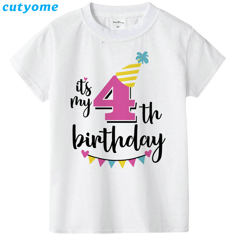 Summer Baby T Shirt Tops Children's Clothing Happy Birthday Girls Boys Short Sleeve Kids Clothes Tee Girls Boys' T-shirts Casual (14)