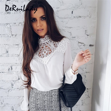 DERUILADY Casual Solid Long Sleeve Women Blouse Lace Hollow Out Sexy Ladies Clothes Tops 2018 Spring Loose Chiffon Blouse