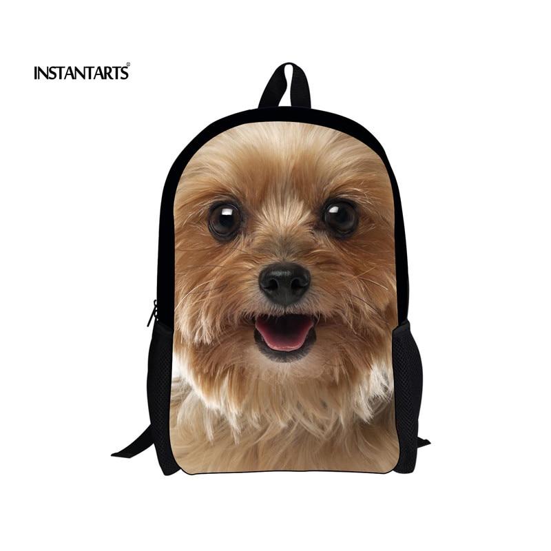 INSTANTARTS милый Йоркширский терьер школьные сумки для детей портфель Начальная Школа Bookbags 3D с животным принтом для девочек Сумка