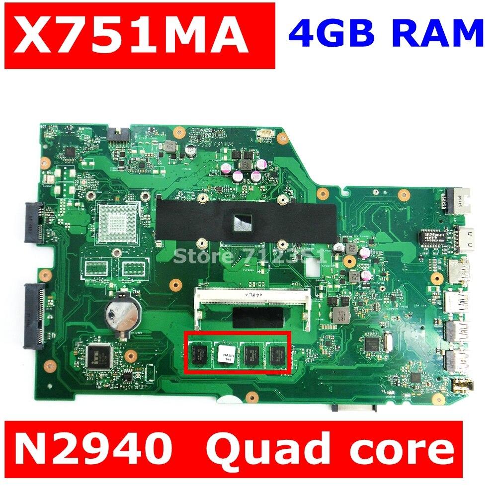 For ASUS X751MD X751MA REV.2.0 Motherboard N3540U CPU GT820M 4GB N15V-GM-S-A2