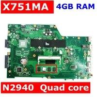 X751ma placa-mãe n2940 processador 4gb ram para asus x751ma x751md portátil mainboard rev 2.0 x751ma usb 3.0 teste 100% ok