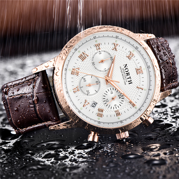 NORTH Mens Watches Casual Leather Waterproof Quartz Watch