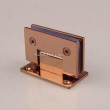 HOT 2PCS 304 Stainless Steel Frameless Shower Glass Door Hinges 90 Degree Fixed Clamps Holder Brackets Rose Gold/Titanium Black цена