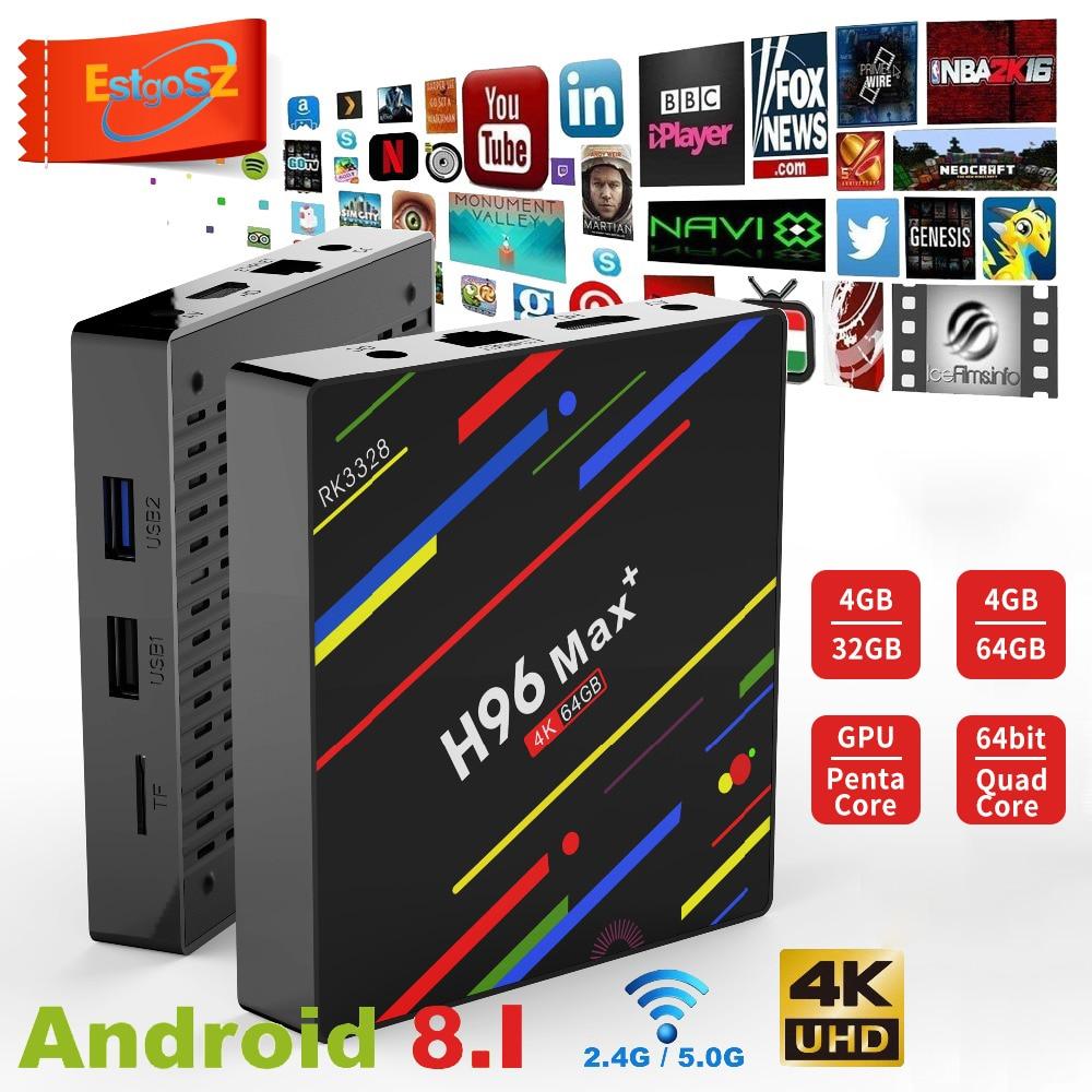 Caixa superior ajustada rk3328 9.0g/5g wifi 4 k h.265 4 gb 32 gb leitor de mídia estgosz h96 max mais android 2.4 caixa de tv inteligente 4 gb ram 64 gb rom
