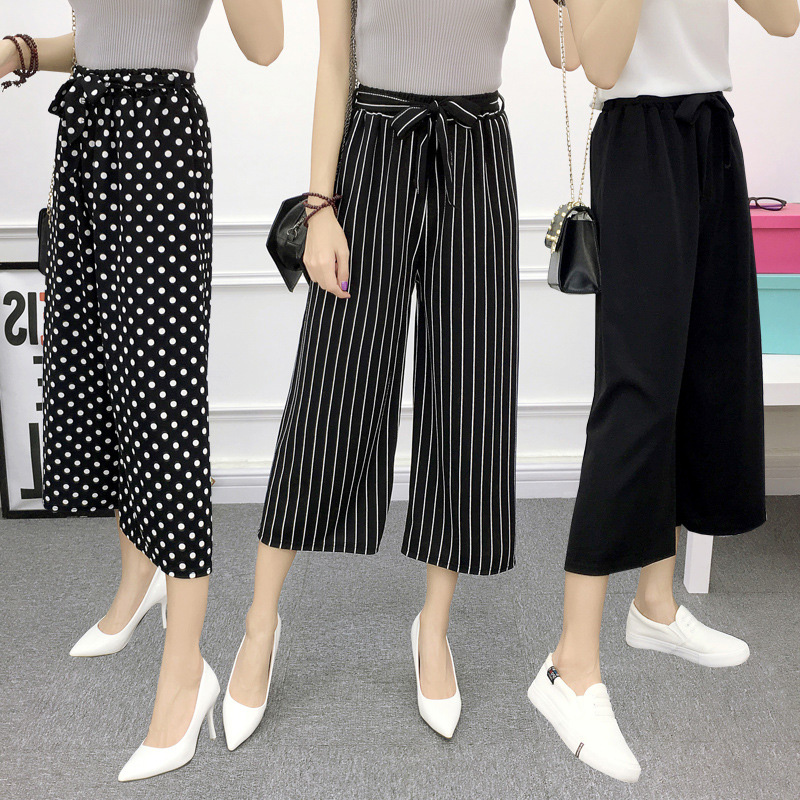 luckymily 2019 Plus Size Women Fashion Summer Spring   Wide     Leg     Pants   With Print Women Casual Ankle-Length   Pants   Women's Clothings