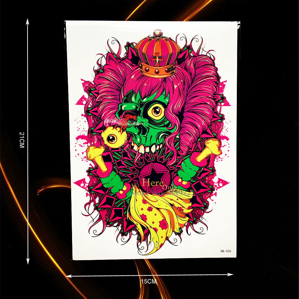 1PC Funny Waterproof Tattoo Skull Bone Crown Design Body Arm Art Temporary Tattoo Sticker Men Women Shoulder Leg Fake Tatoo B426