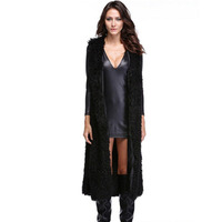 Black fashionautumn faux mink leather vest womens coats winter thicken warm fur leather vests woman jacket slim long clothes