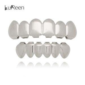 Золотые зубцы LuReen для мужчин и женщин, мужские верхние и нижние поддельные грили для зубов, вампирские гриллы, позолоченные колпачки для зубов, вечерние ювелирные изделия
