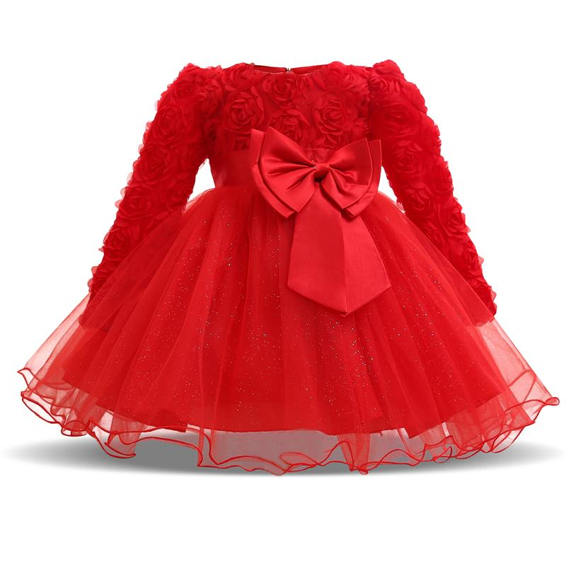 71f85365d528 Winter Xmas Gift Baby Girls Dress Full of Lace Party Dress Infant Baby Wear  Kids 1st