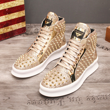 Fashion Casual Shoes Mens Solid Rivets High Top Sneakers Bottom Flats Ankle Lace-Up Boots Zapatillas Hombre