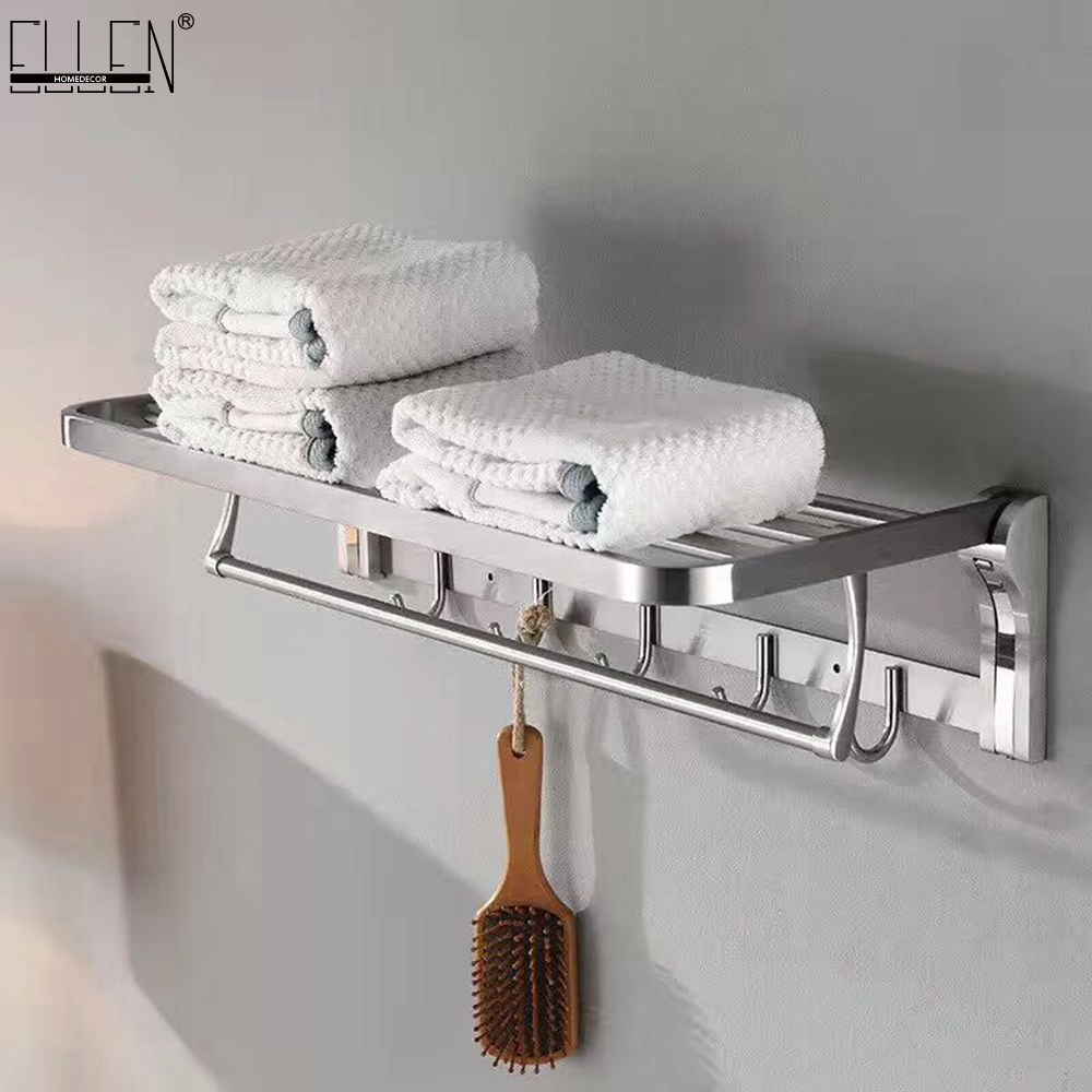Bathroom Towel Shelf Movable Bath Towel Shelves 304 Stainless Steel Brushed Towel Rack With Hooks 304 stainless steel 280 140 500mm bathroom shelf bathroom products bathroom accessories 29016